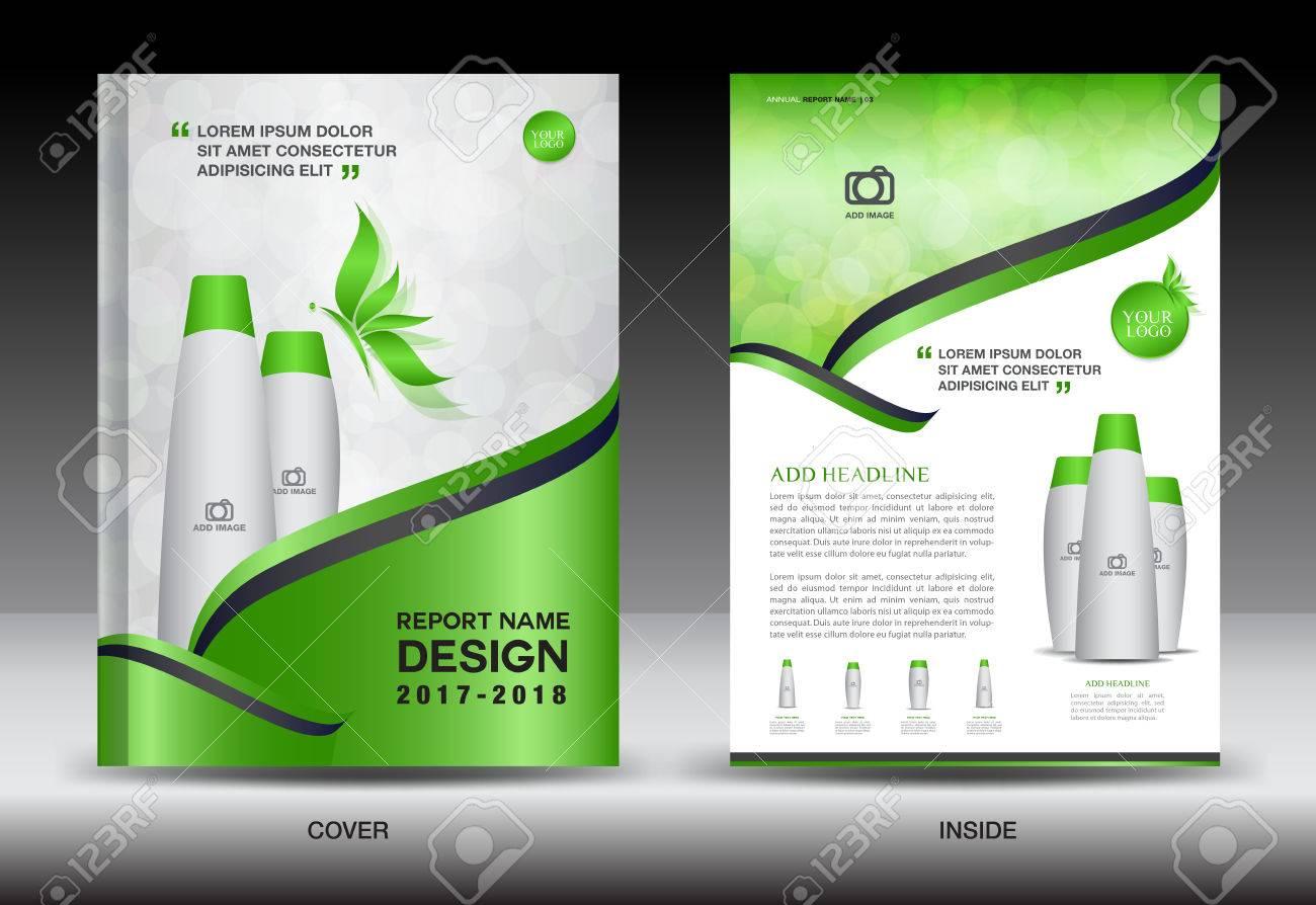 annual report brochure flyer template green cover design cosmetics
