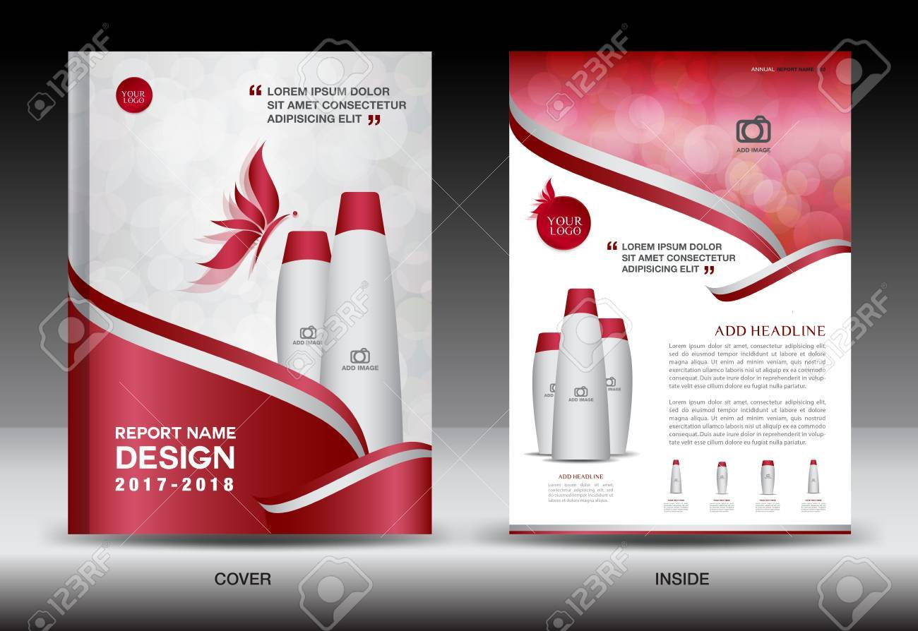 annual report brochure flyer template red cover design cosmetics