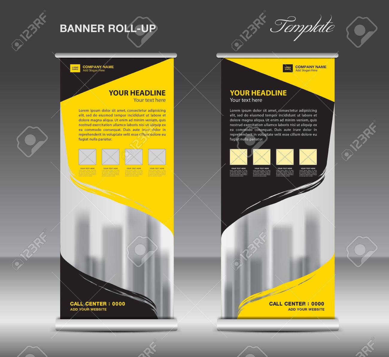 Yellow And Black Roll Up Banner Template Vector, Flyer ...
