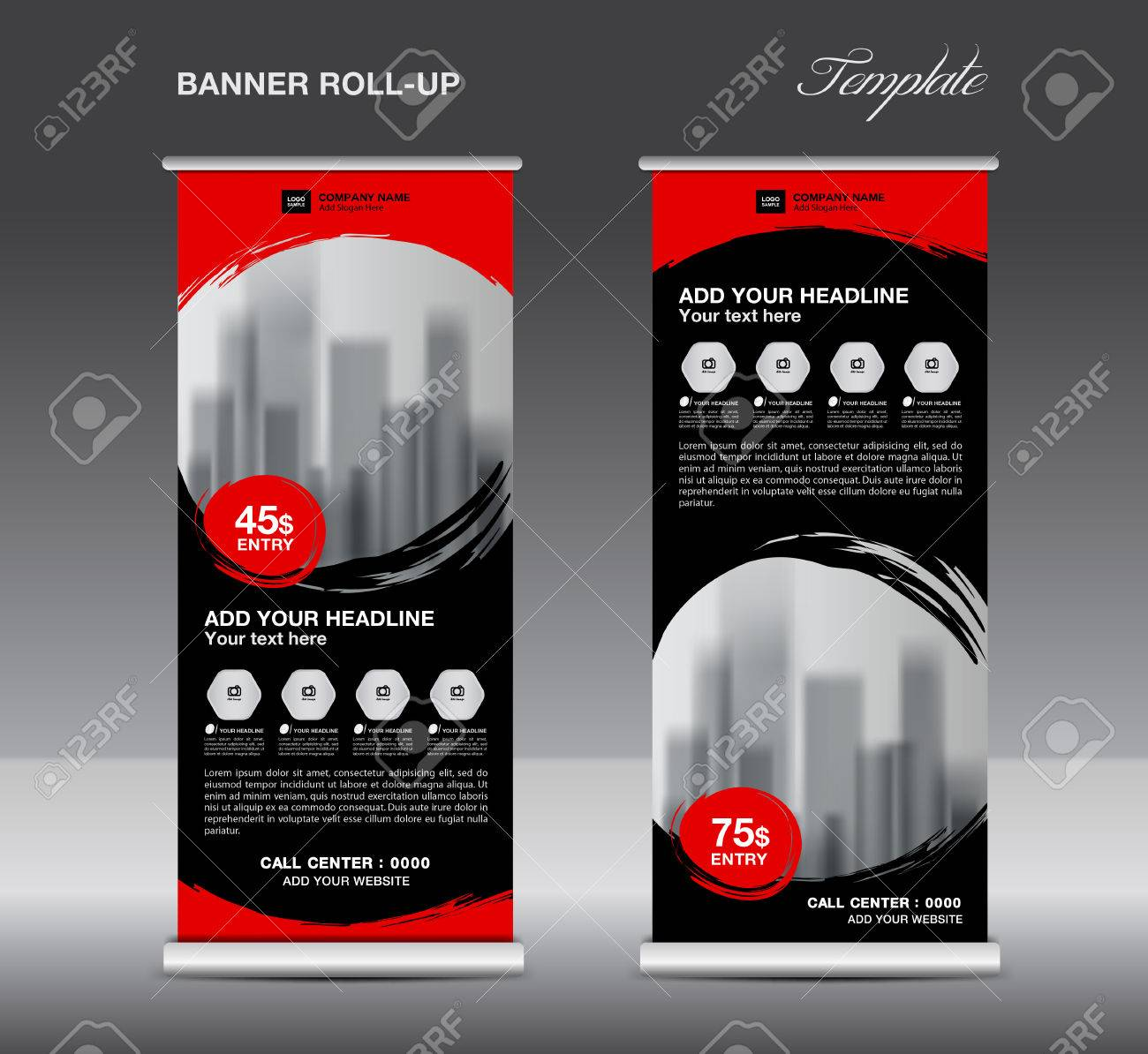 black roll up banner template vector flyer advertisement poster