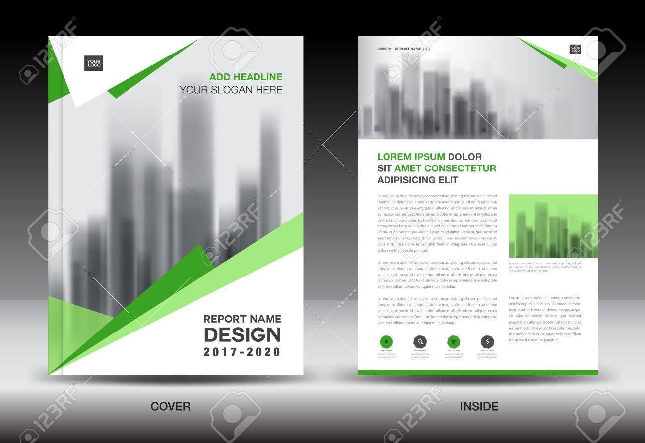 annual report brochure flyer template green cover design business