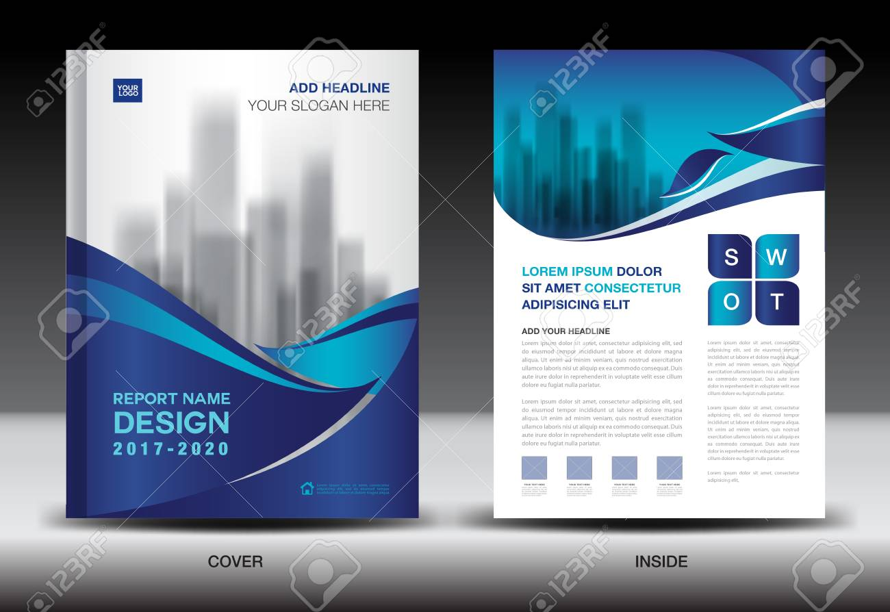 Annual Report Brochure Flyer Template, Blue Cover Design, Business ...