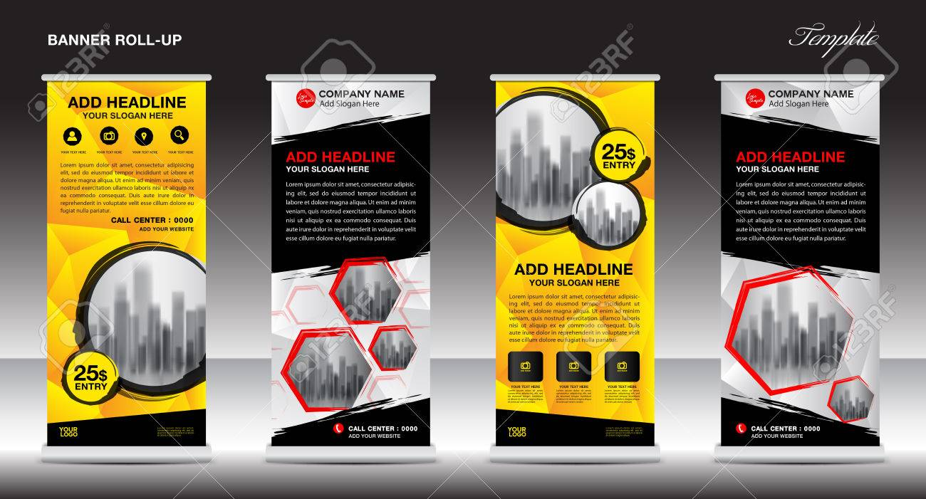 Collection Of Roll Up Banner Design Stand Template Flyers Design