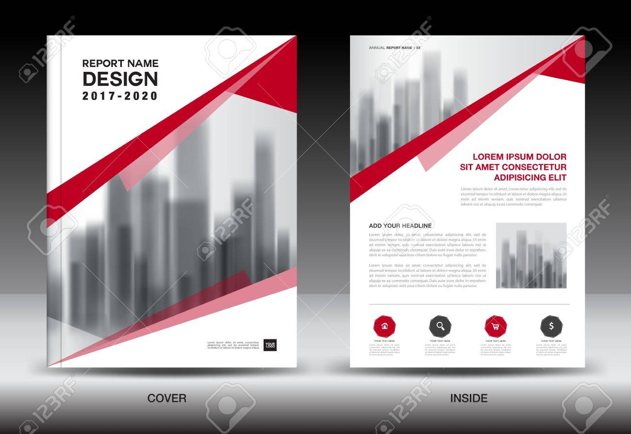 Annual Report Brochure Flyer Template Red Cover Design Business - Company profile brochure template