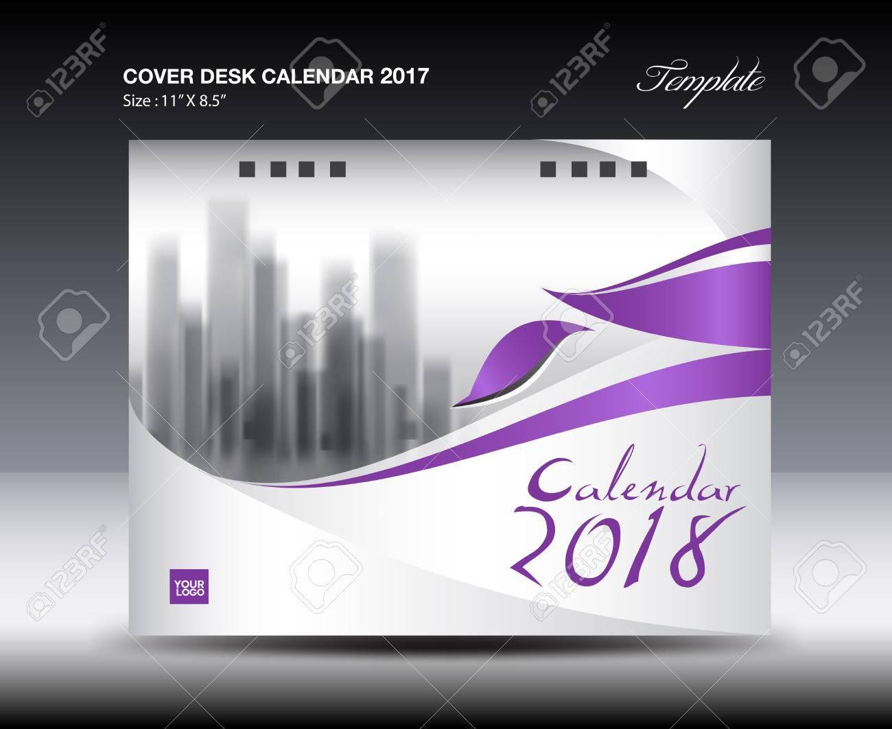 Calendar Flyer Template   Purple Cover Desk Calendar 2018 Design Flyer Template Advertising