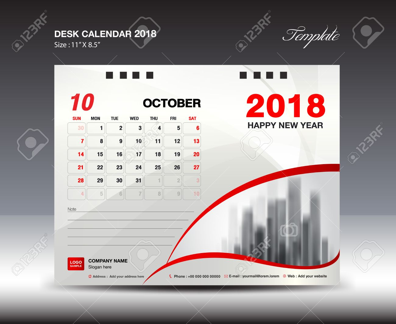 Desk Calendar For 2018 Year, October 2018, Week Starts Monday, Stationery  Design Stock  Calendar Sample Design