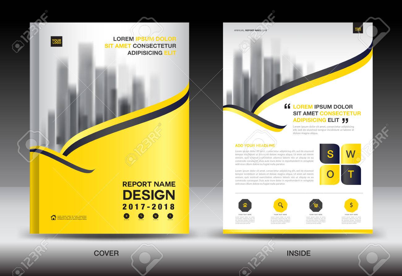 annual report brochure flyer template yellow cover design business