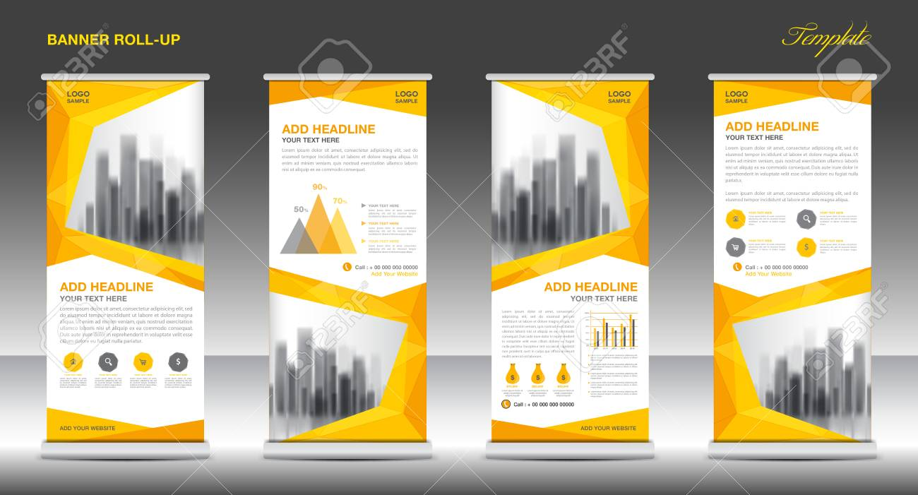 Roll Up Banner Stand Template Design Yellow Banner Layout