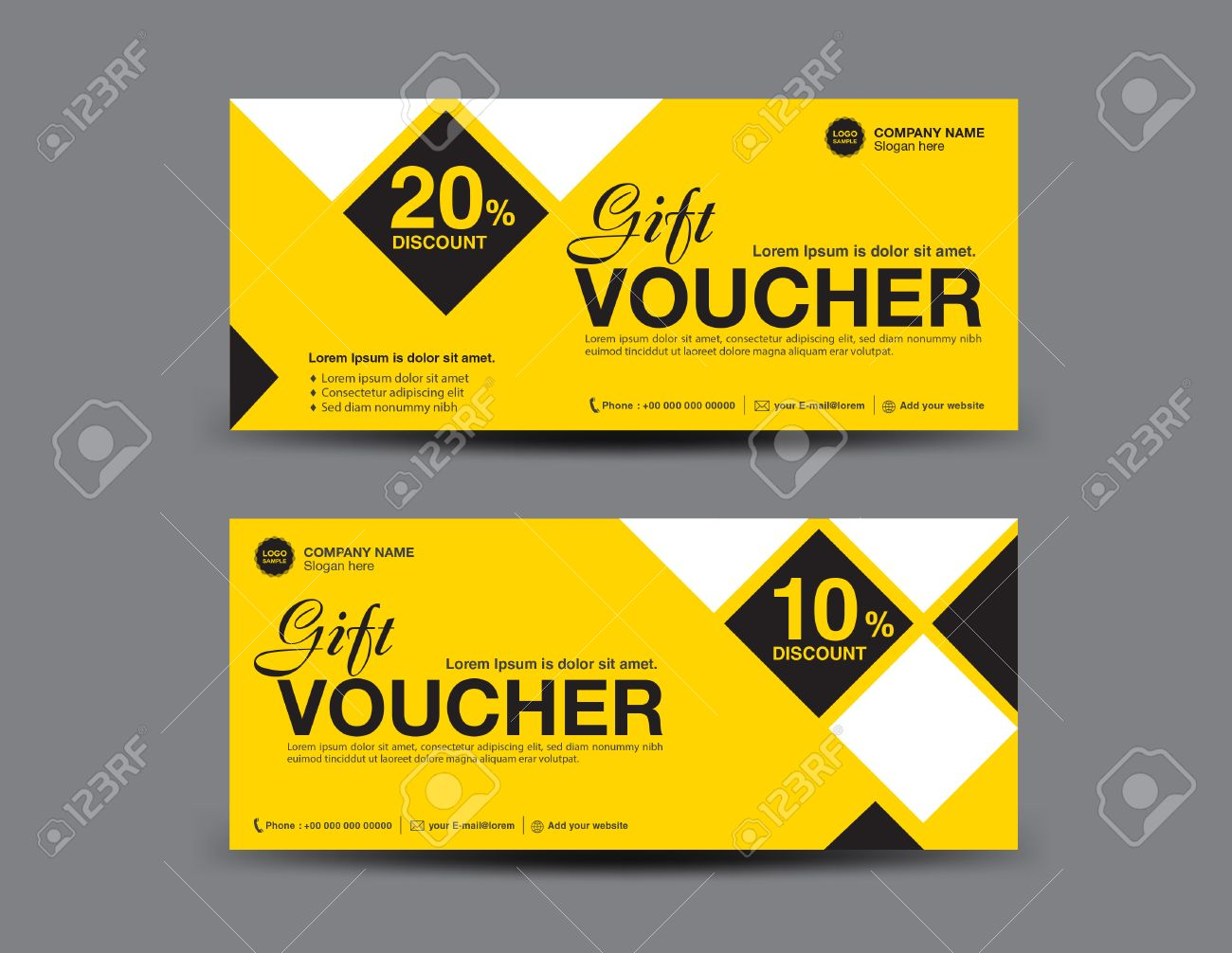 Coupon Flyer | Yellow Gift Voucher Template Layout Business Flyer Design Polygon