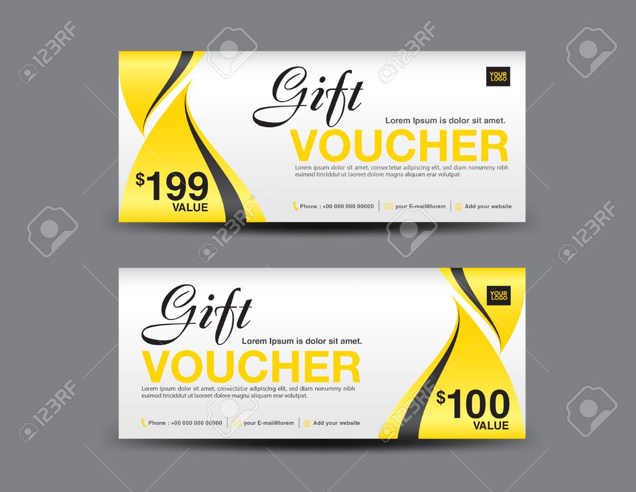 Yellow Gift Voucher Template Layout, Business Flyer Design ...