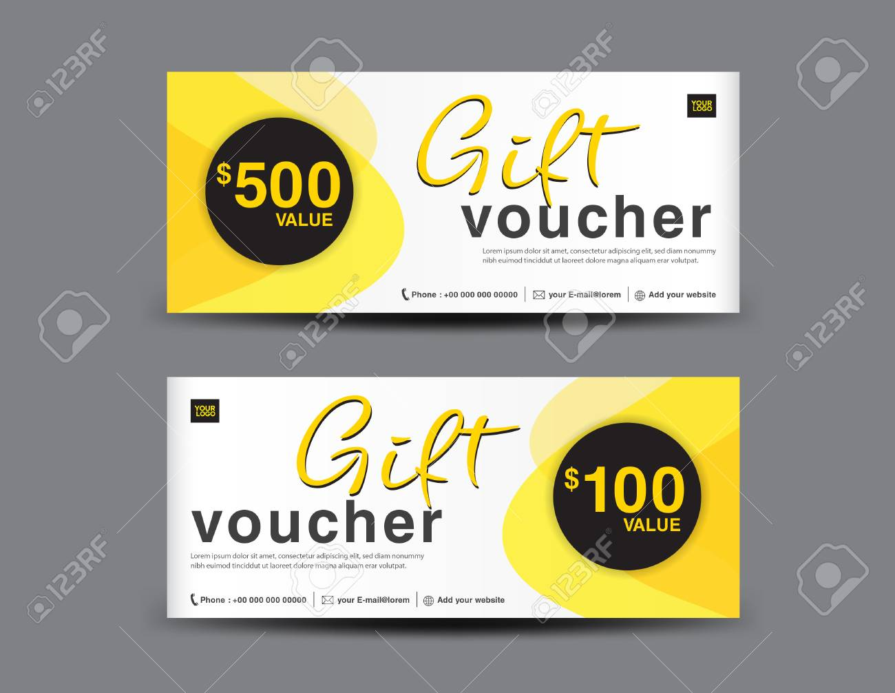 Yellow gift voucher template layout business flyer design abstract yellow gift voucher template layout business flyer design abstract background coupon ticket cheaphphosting Images