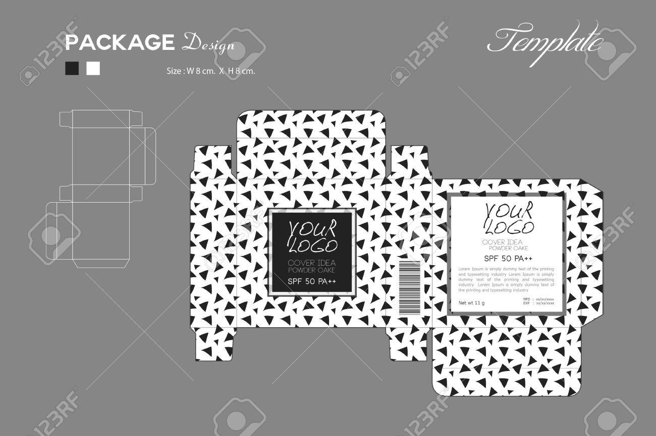 Package Puff Powder Skin Color Box Outline Black And White