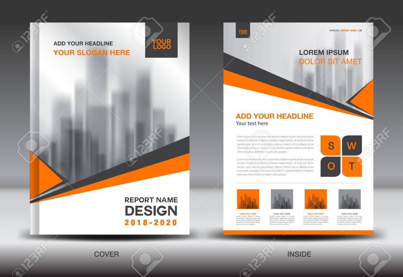 annual report brochure flyer template orange cover design business