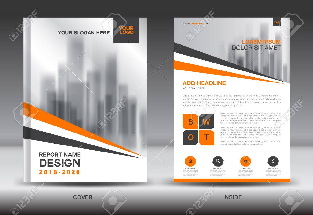Annual Report Brochure Flyer Template, Orange Cover Design ...