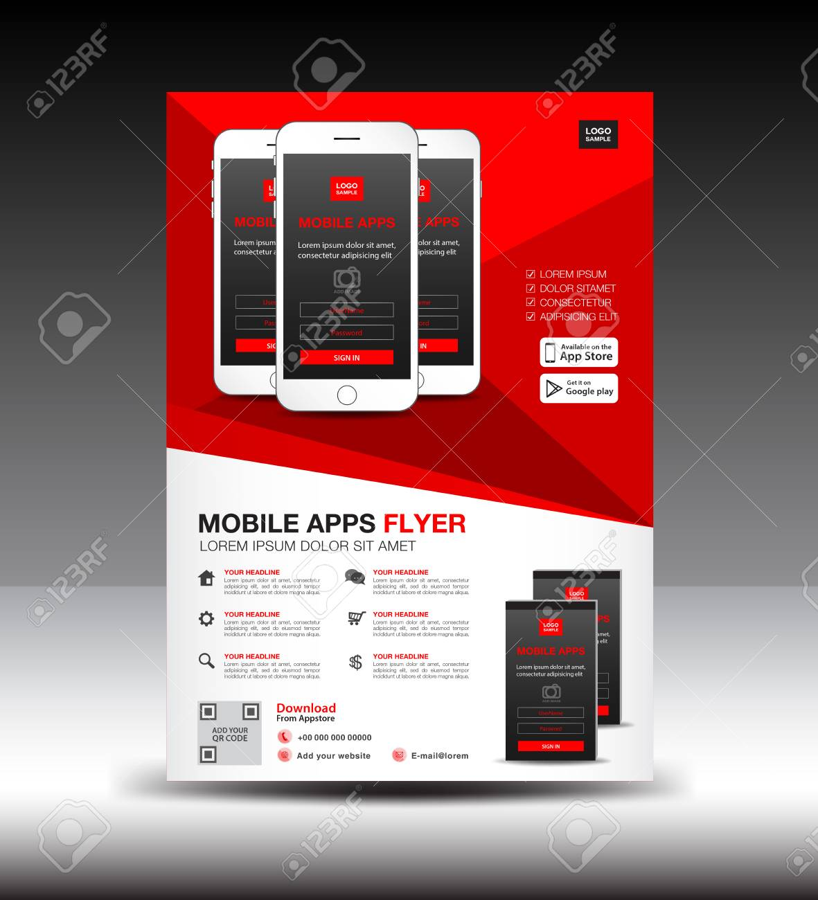 mobile apps flyer template royalty free cliparts vectors and