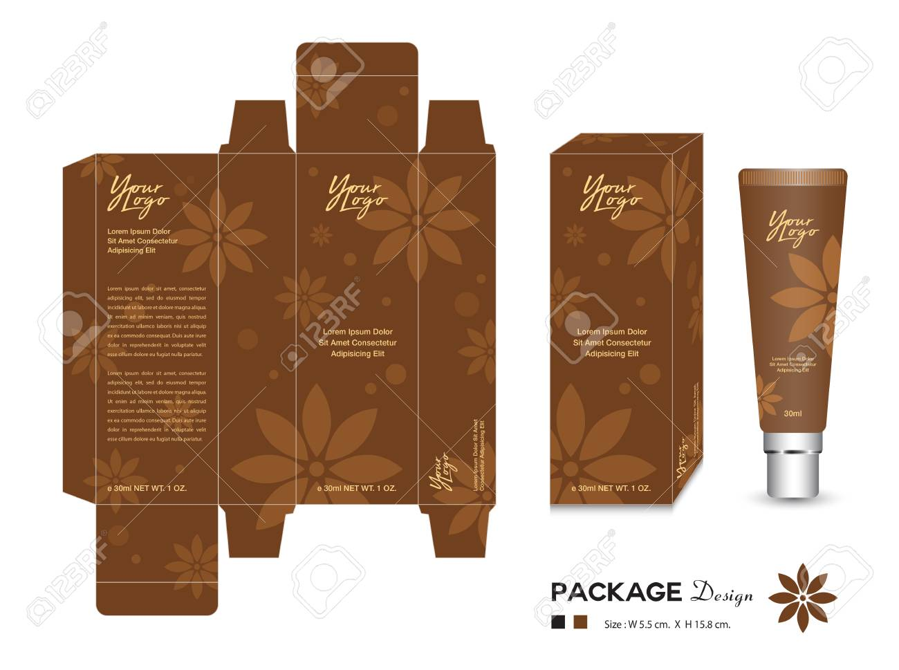 Cosmetic Packaging Template Vector Illustration. Cream Layout ...