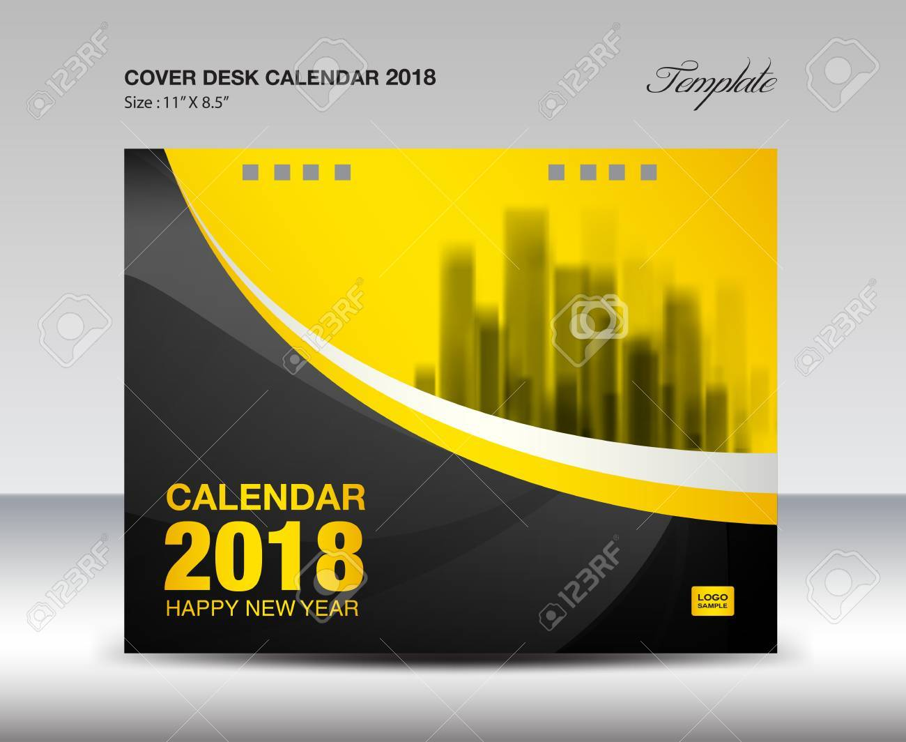 Black And Yellow Cover Desk Calendar 2018 Design Flyer Template