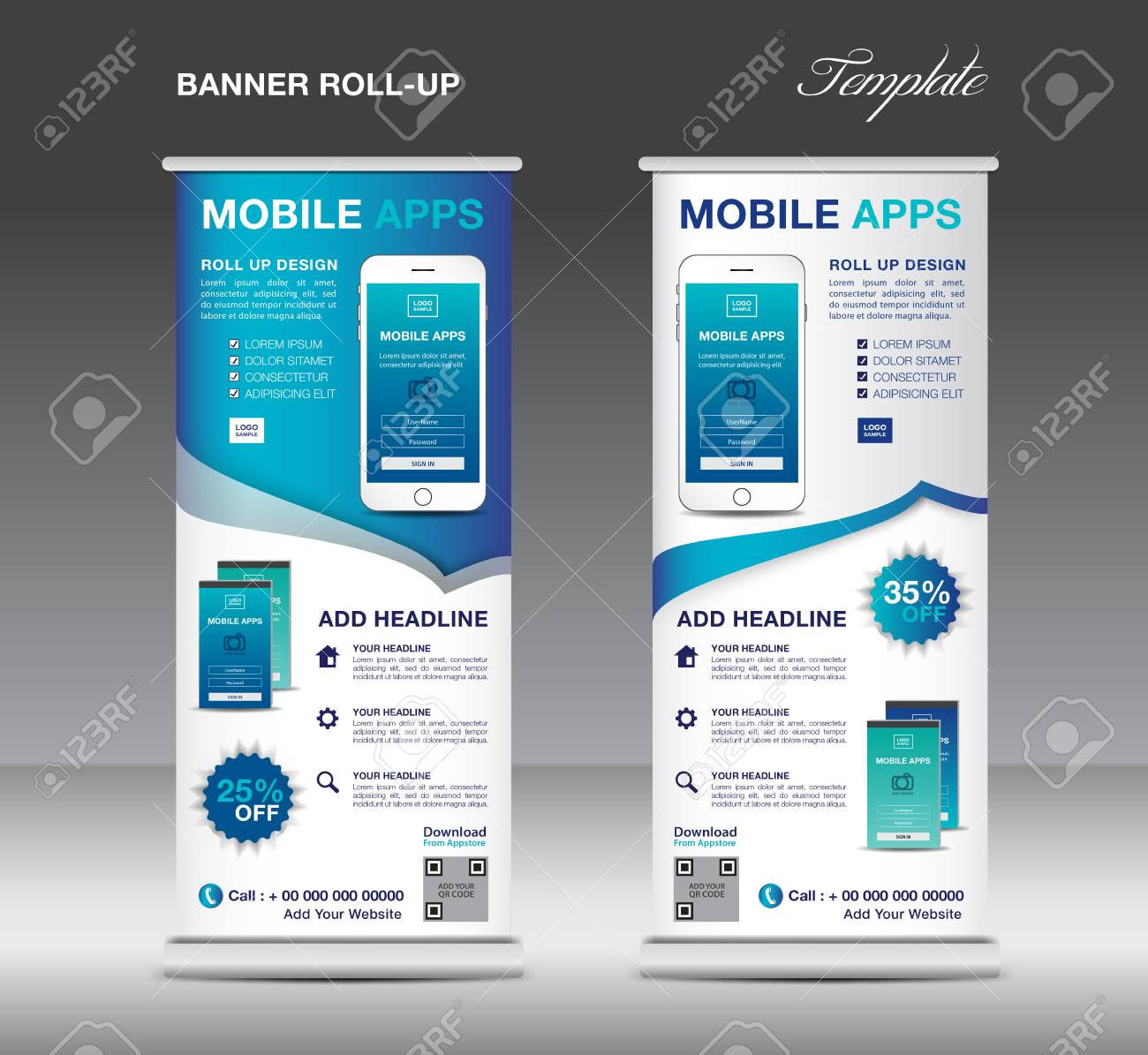 mobile apps roll up banner template stand layout blue banner