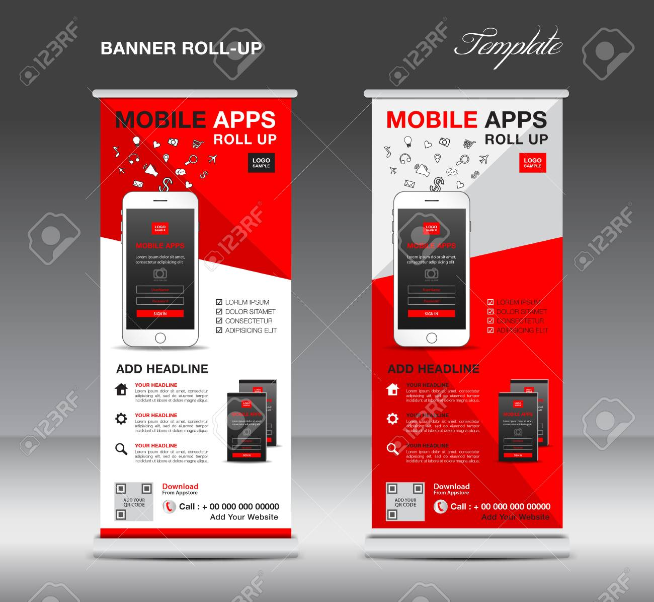 MOBILE APPS Roll Up Banner Template, Stand Layout, Red Banner ...