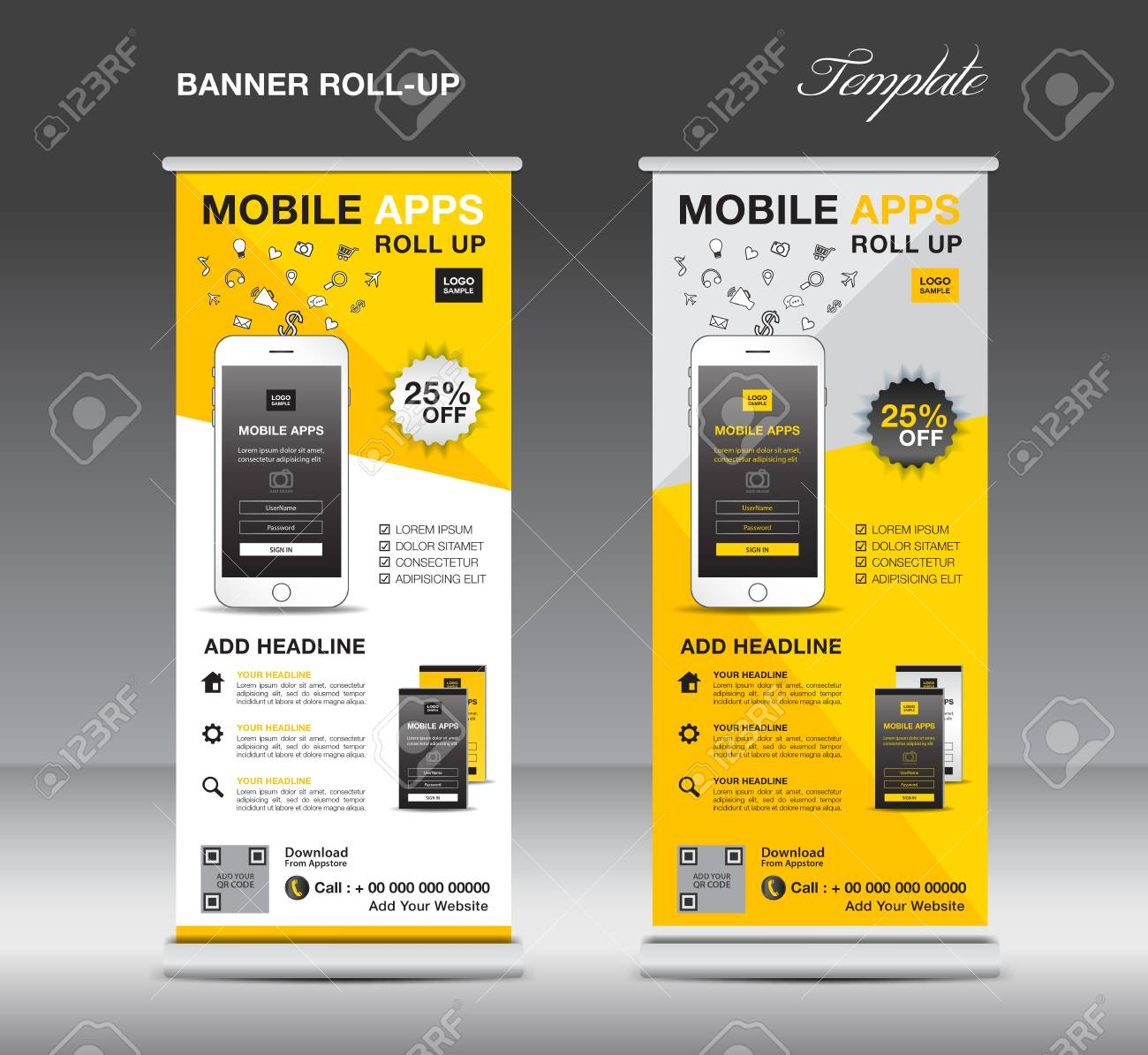 mobile apps roll up banner template stand layout yellow banner