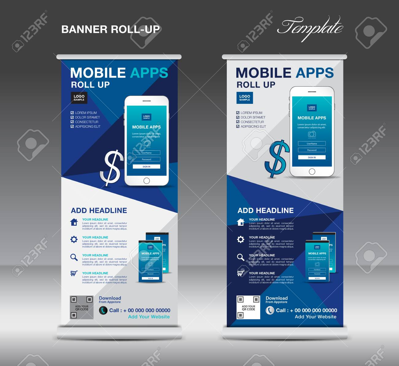 mobile apps roll up banner template stand layout blue banner application presentation