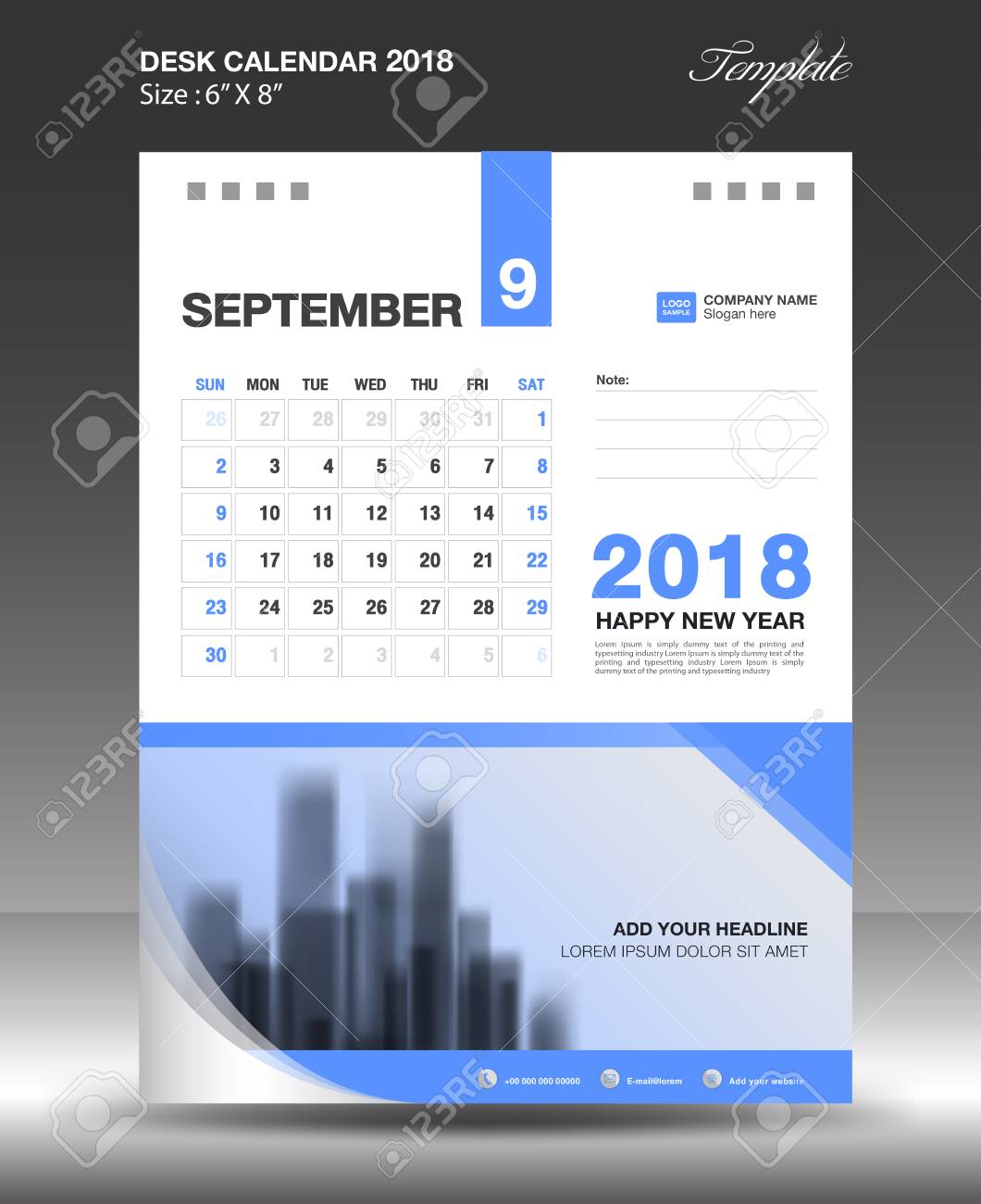 SEPTEMBER Desk Calendar 2018 Template Design Flyer Vector, Business ...
