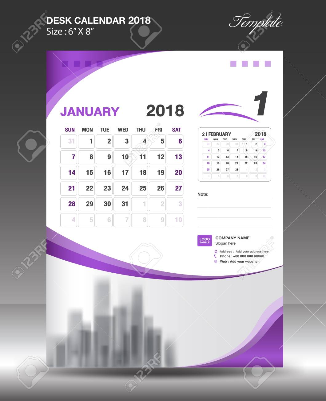 january 2018 desk calendar design stock vector 89303874