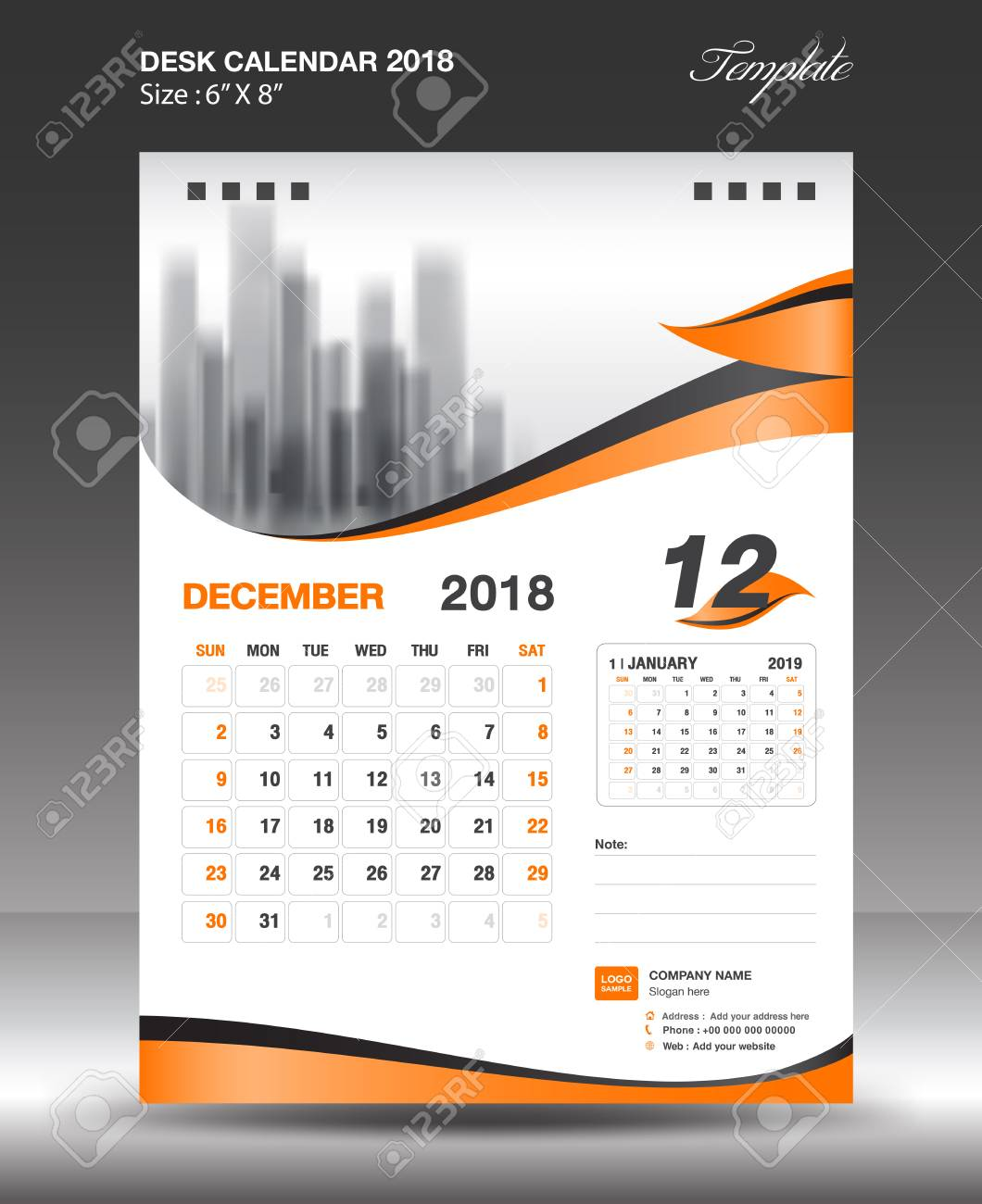 December Desk Calendar 2018 Template Design Flyer Vector, Business ...