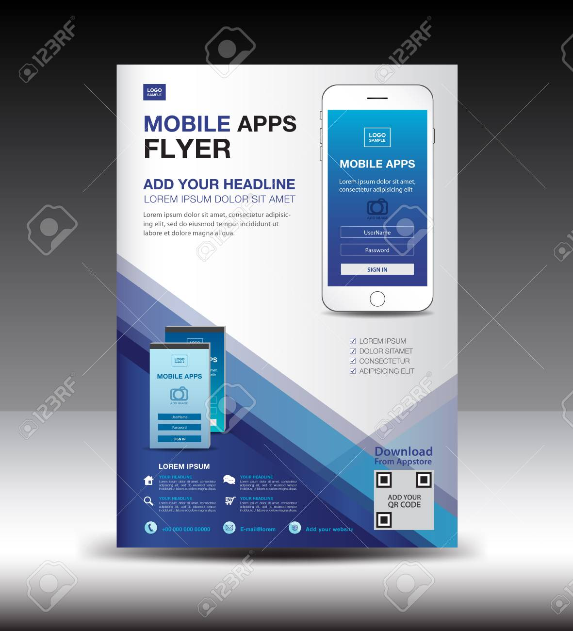 Mobile Apps Flyer Template Business Brochure Flyer Design Layout Royalty Free Cliparts Vectors And Stock Illustration Image 91217031