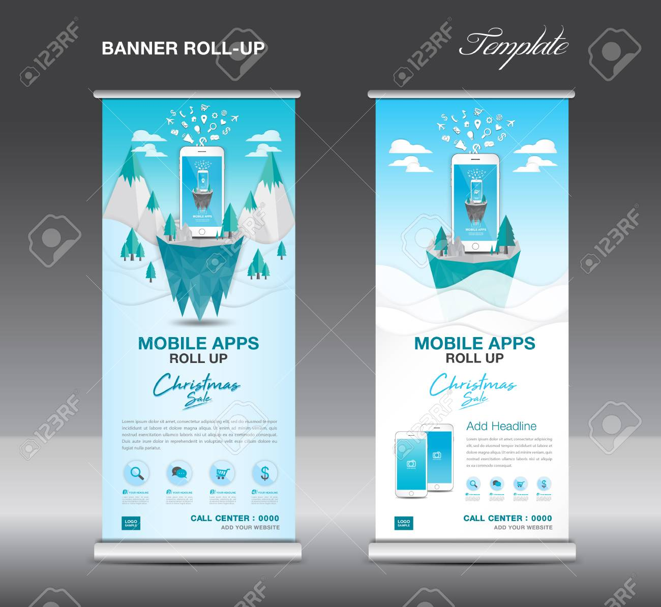 Mobile Apps Roll Up Banner Template On Winter Landscape Design Royalty Free Cliparts Vectors And Stock Illustration Image 91493816