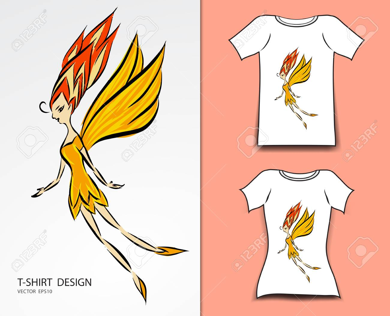 T Shirt Design Vector Illustration Cute Little Fairy Cartoon Royalty Free Cliparts Vectors And Stock Illustration Image 93366925
