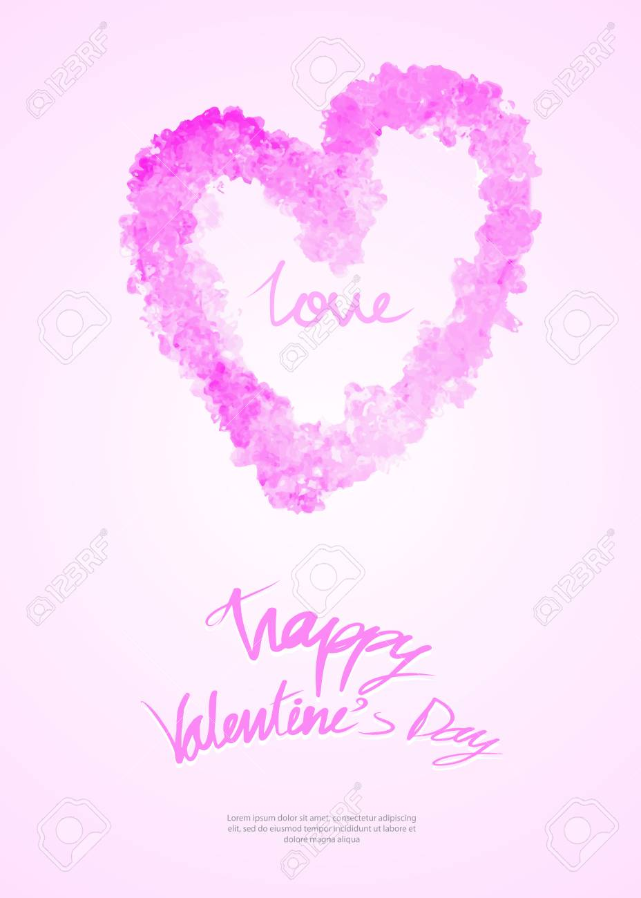 Valentines Day Card Template Greeting Card Layout Heart Hand
