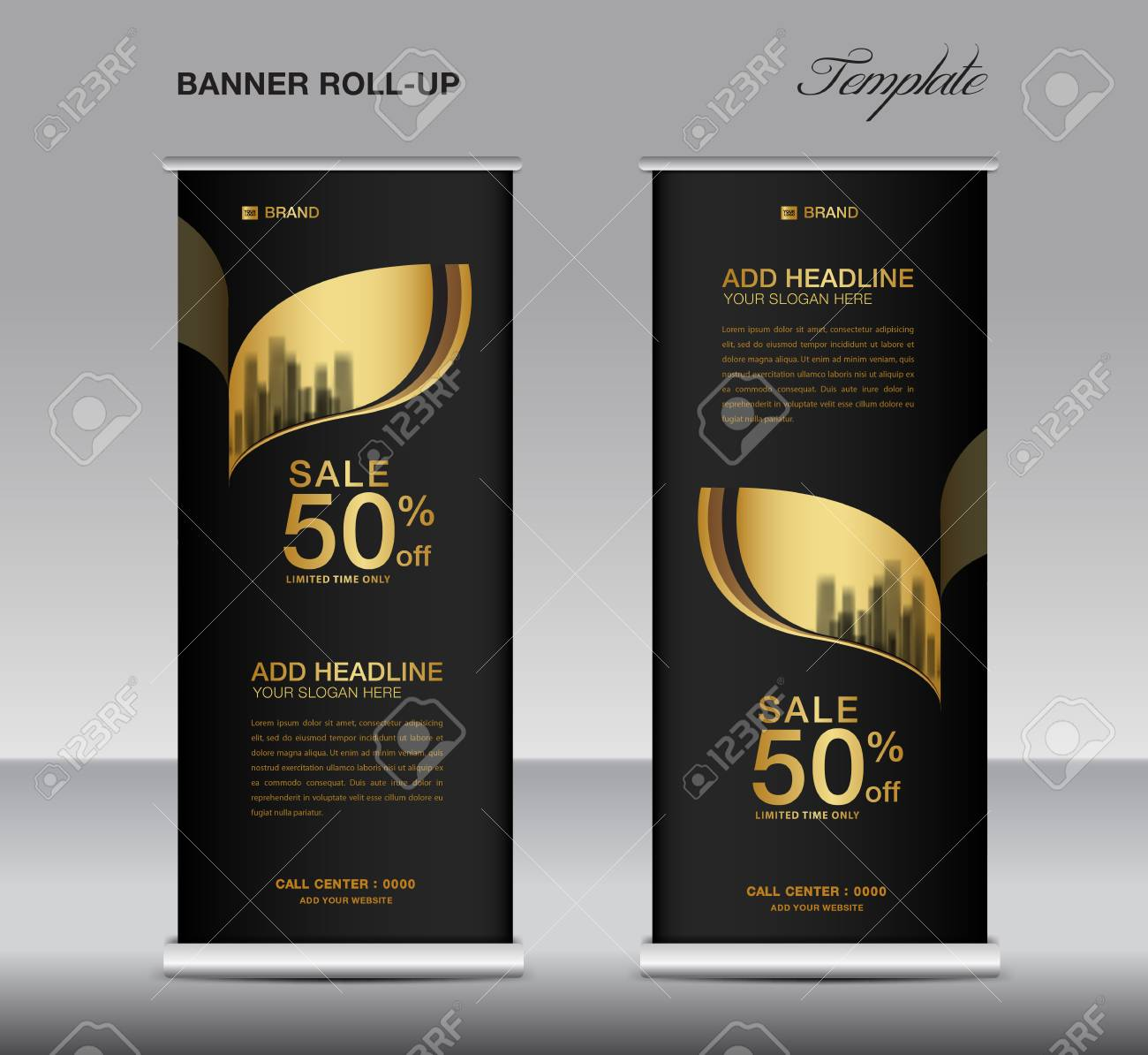 Exhibition Stand Roll Up : Black and gold roll up banner template vector advertisement