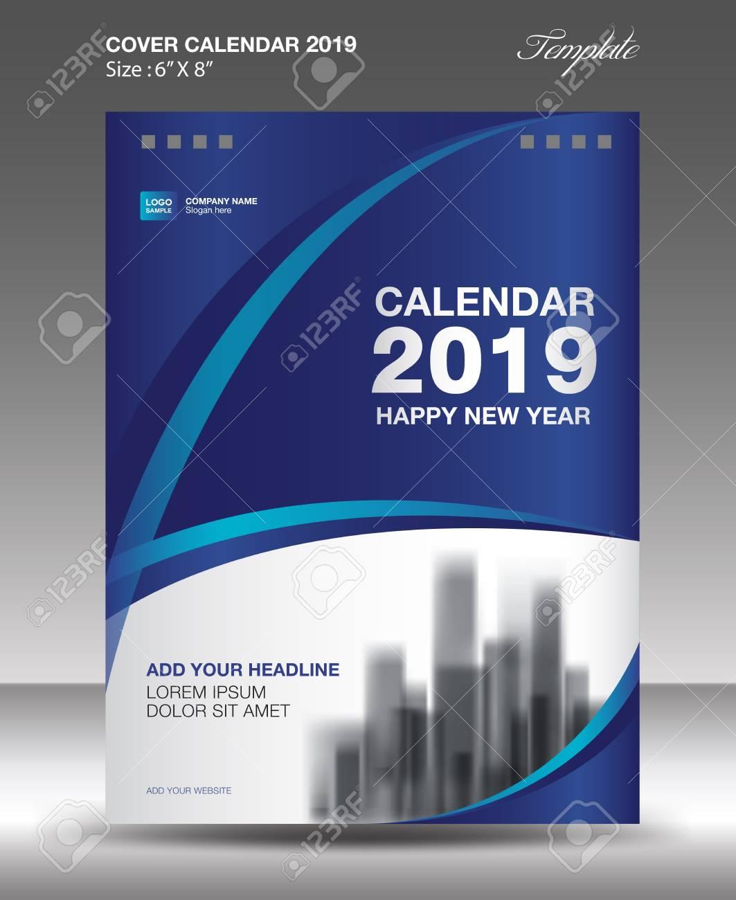 Calendar Flyer Template | Blue Cover Desk Calendar 2019 Design Flyer Template Ads Booklet