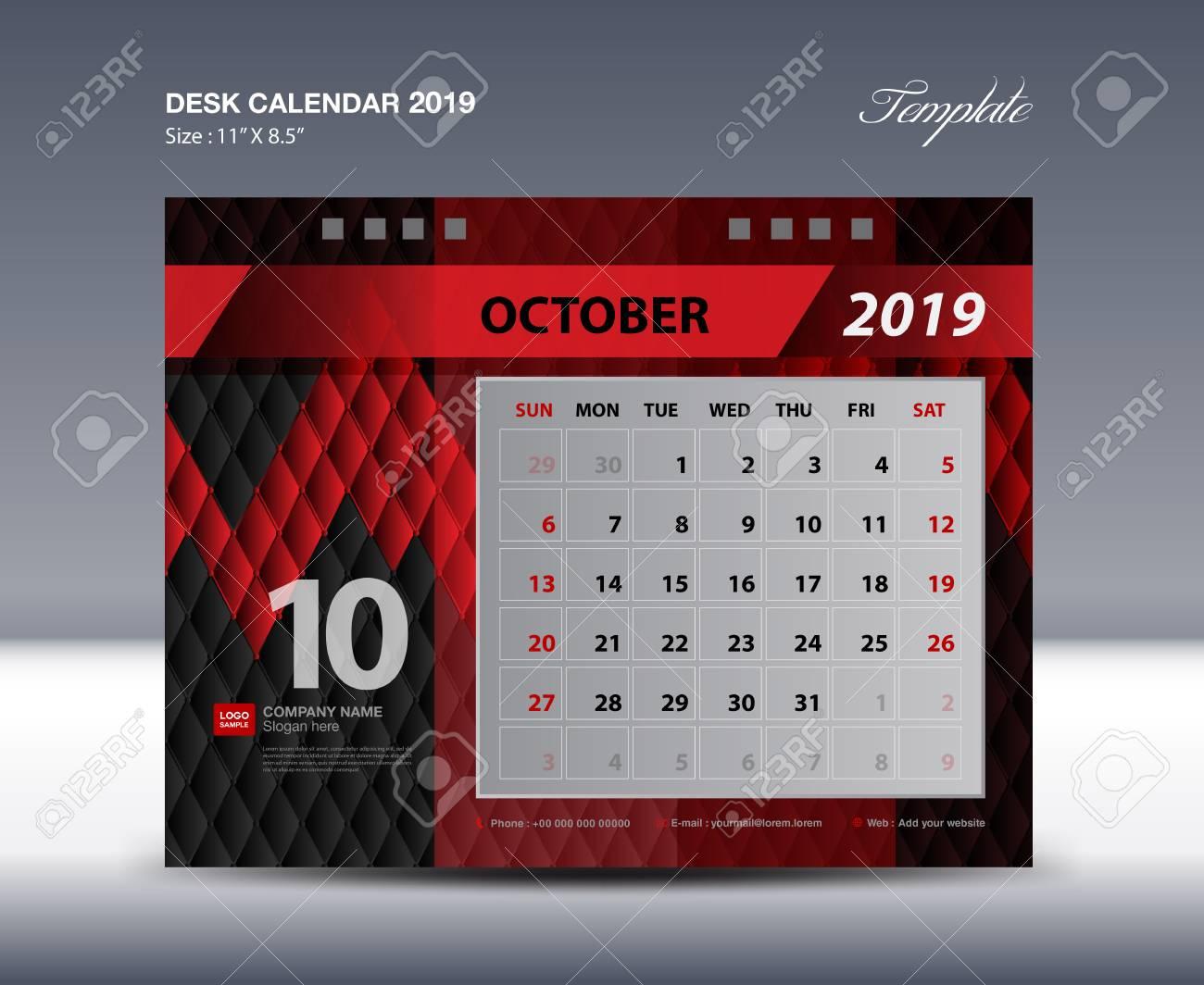 October Desk Calendar 2019 Template Week Starts Sunday Stationery