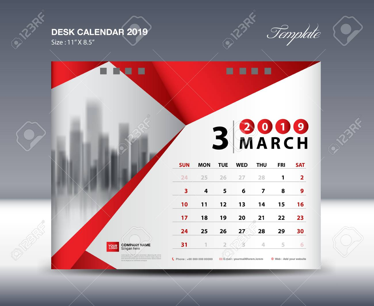 march desk calendar 2019 template week starts sunday stationery