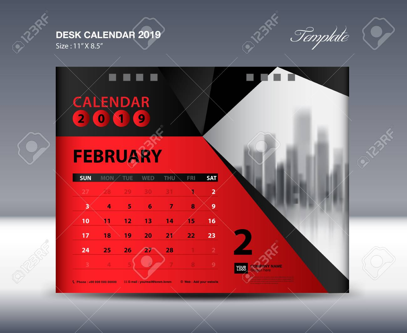 february desk calendar 2019 template week starts sunday stationery