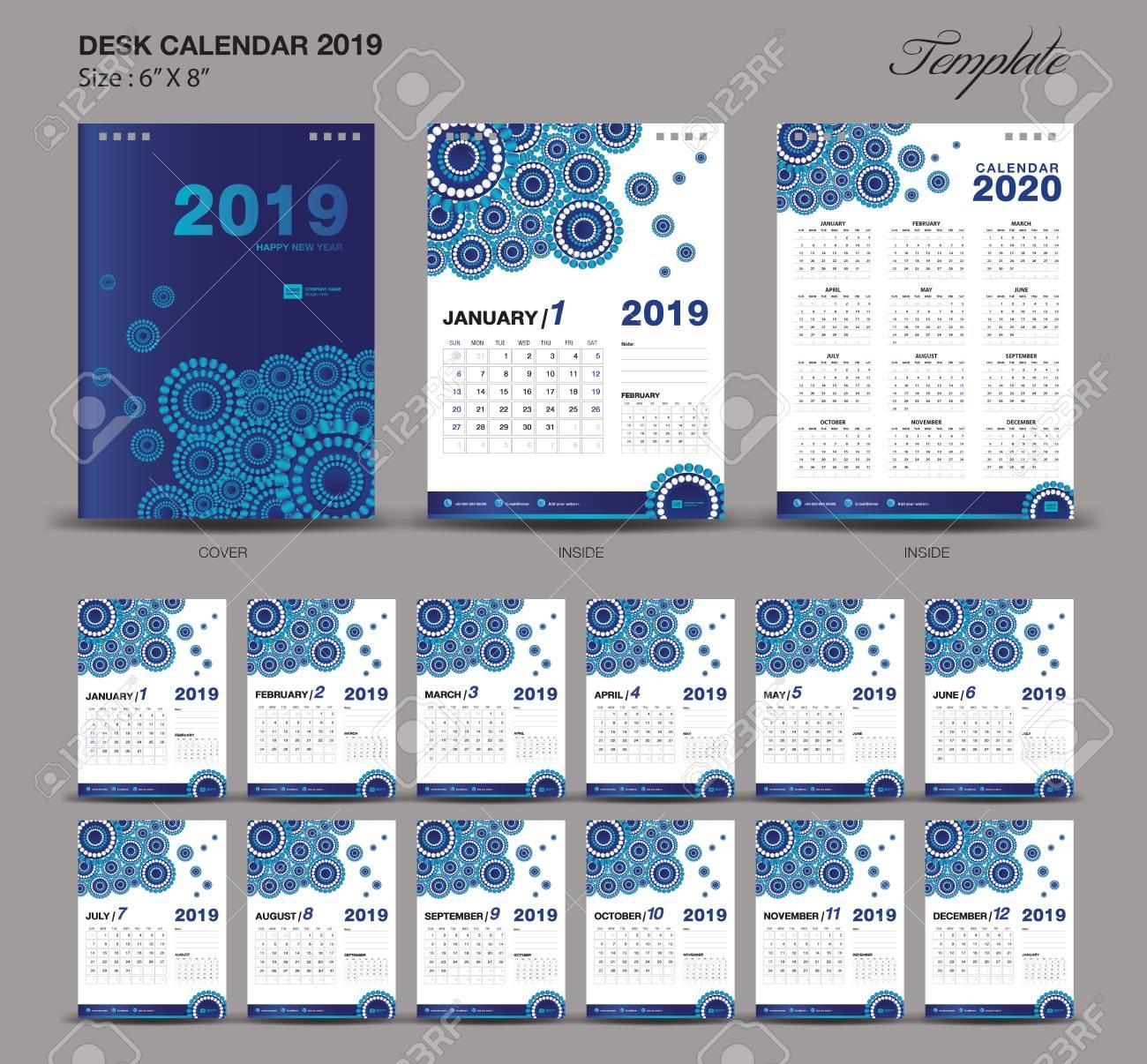 Desk Calendar 2019 Year Size 6 X 8 Inch Template Blue Calendar 2019
