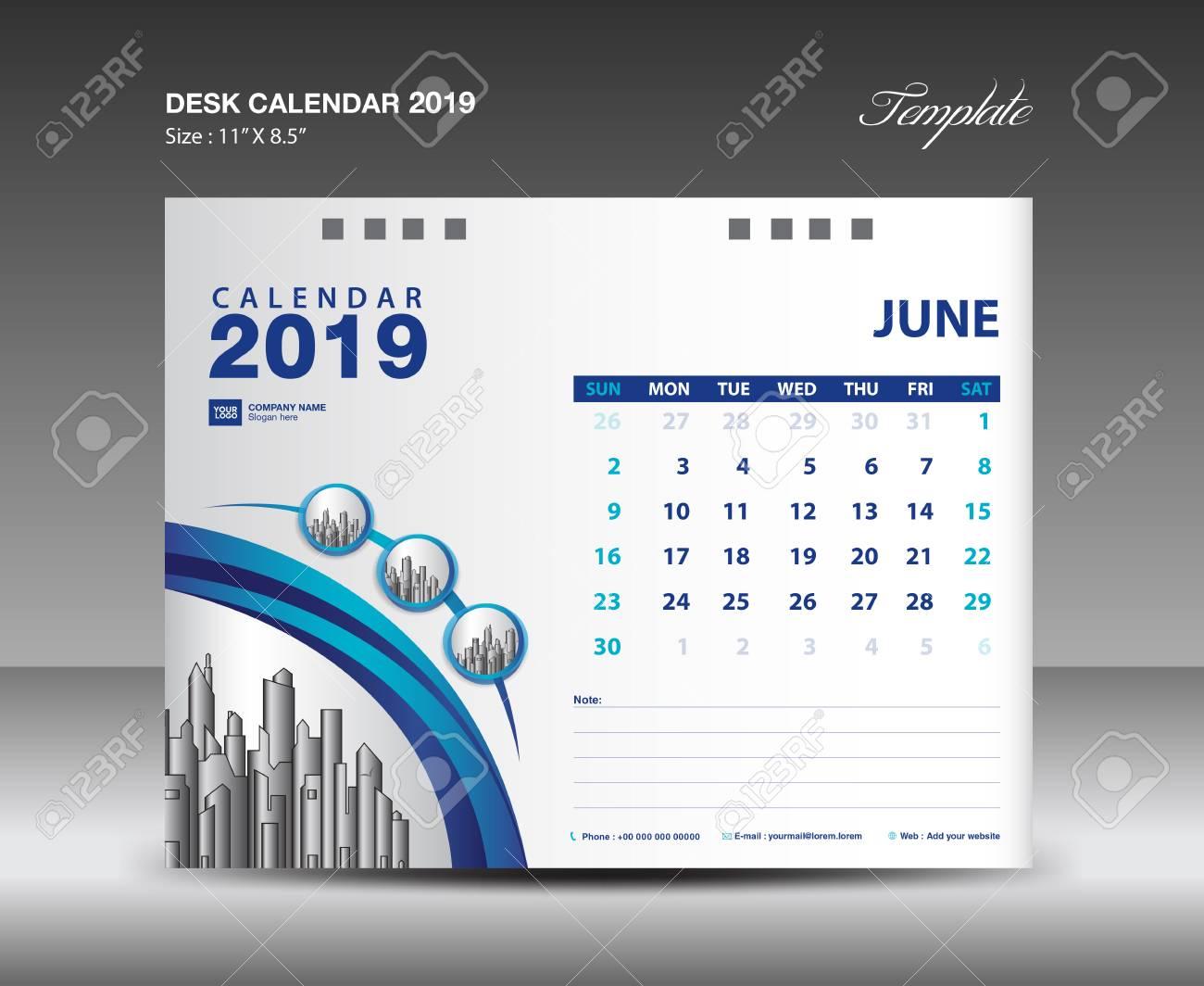Desk Calendar 2019 Year Template vector design, JUNE Month - 109725767