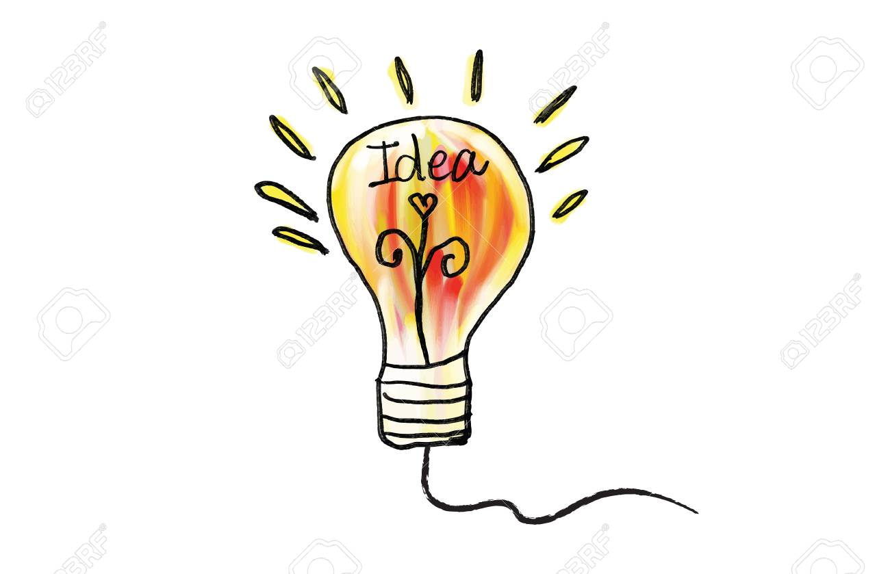 Vector light bulb icon vector illustration. Concept or creative thinking, doodle hand drawn sign, cartoon - 125666982
