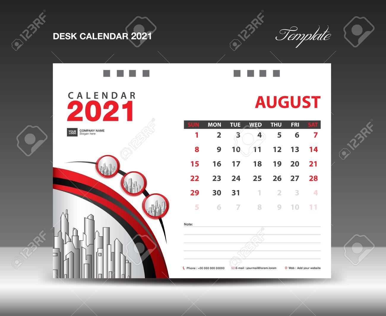 2021 Calendar Design. August 2021 Template. Desk Calendar Page