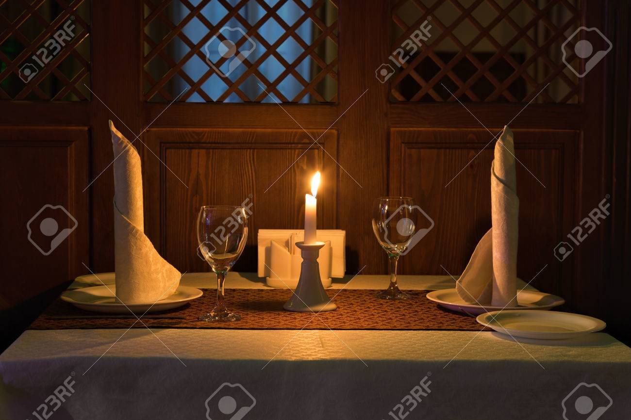 Romantic Candle Light Dinner In A Restaurant. Stock Photo   77821923