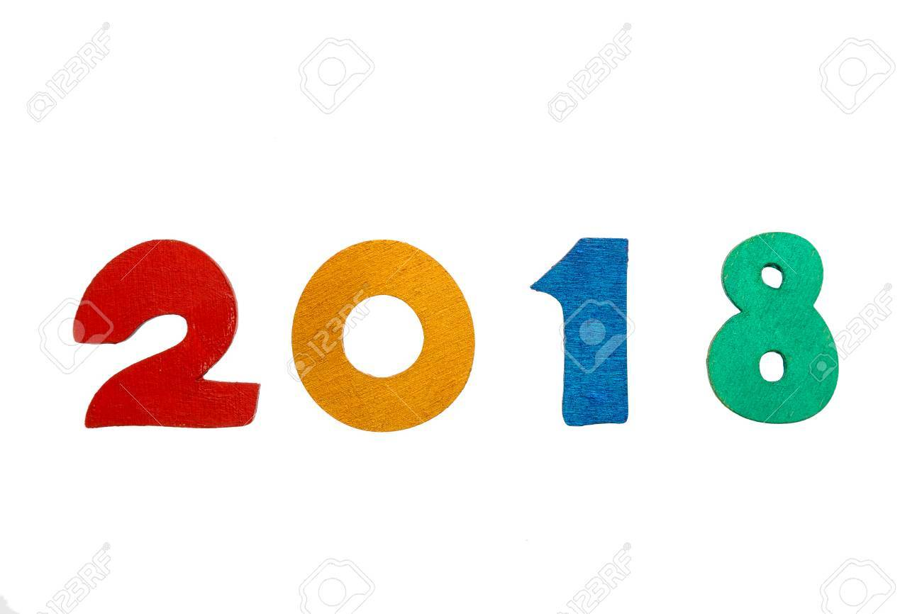 Happy new year 2018 of real colorful painted wooden figures isolated happy new year 2018 of real colorful painted wooden figures isolated on white background stock voltagebd Gallery