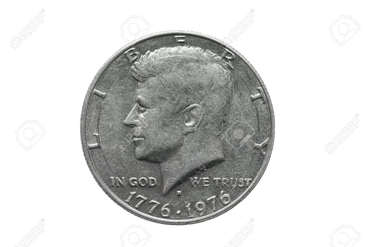 American old coin worth half dollar US with John Kennedy portrait