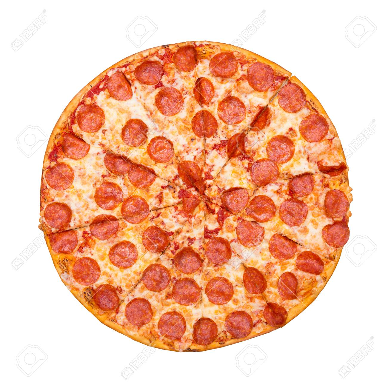 Fresh tasty pizza with pepperoni isolated on white background. Top view. - 121170541