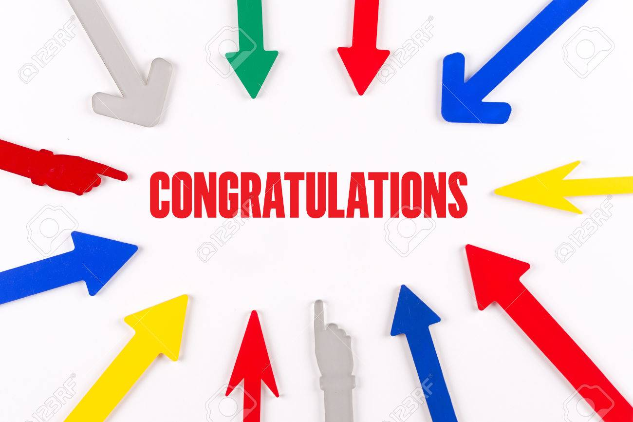 colorful arrows showing to center with a word congratulations stock