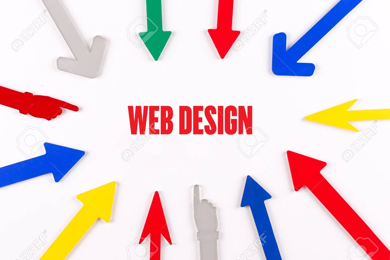 Colorful Arrows Showing To Center With A Word WEB DESIGN Stock Photo ...