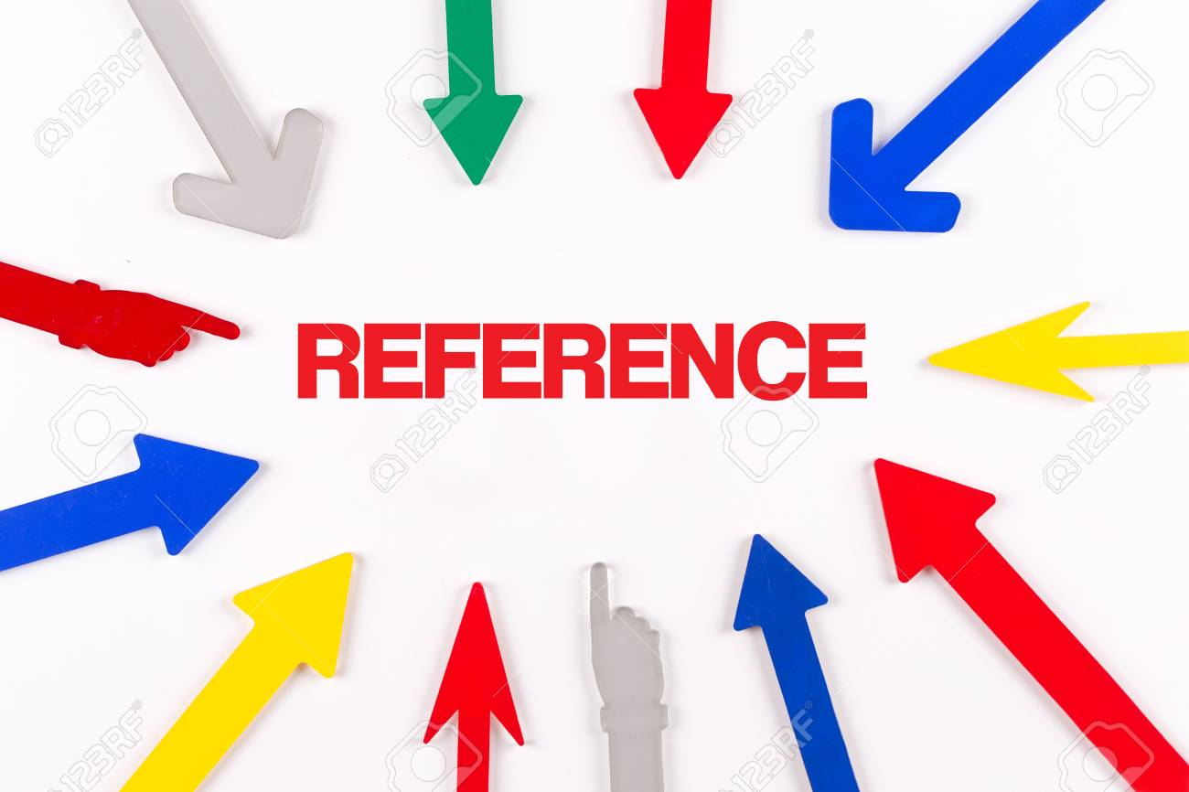 Colorful Arrows Showing To Center With A Word REFERENCE Stock Photo