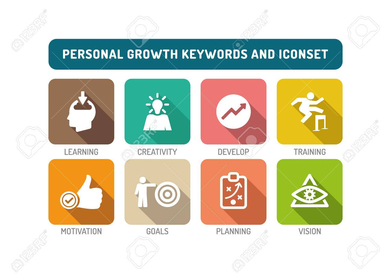 Personal Growth Flat Icon Set Royalty Free Cliparts Vectors And