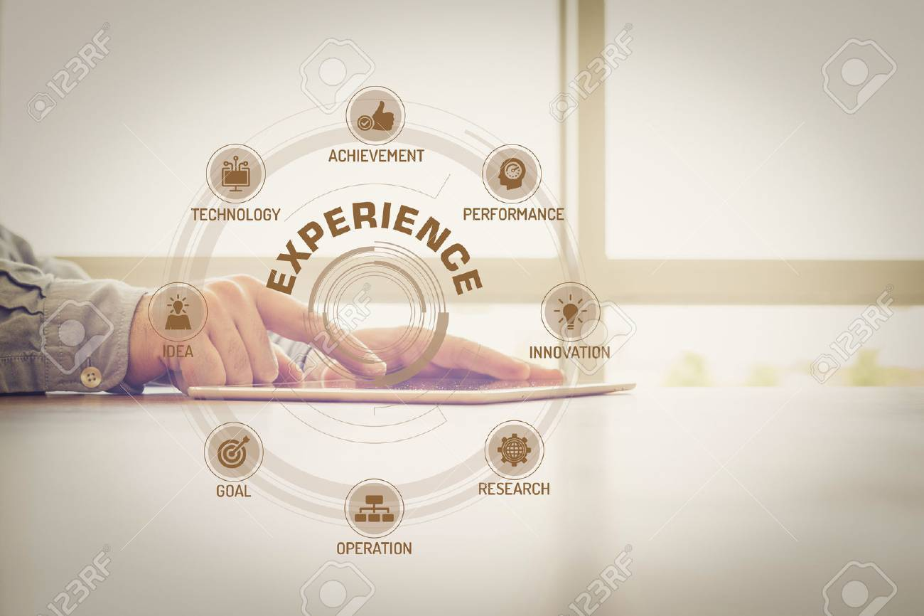 EXPERIENCE chart with keywords and icons on screen - 57634702